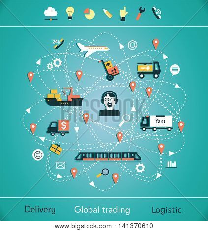 Mind Map global trading. Delivery of goods services trade and logistics. Isolated objects.