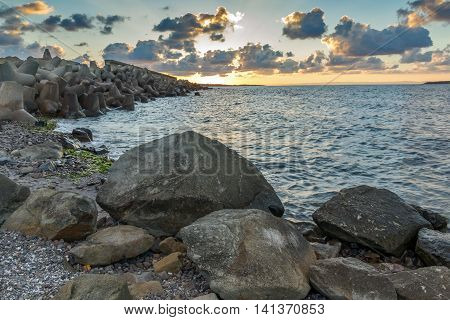 Sunset picture of breakwater of Sozopol Town, Burgas Region, Bulgaria