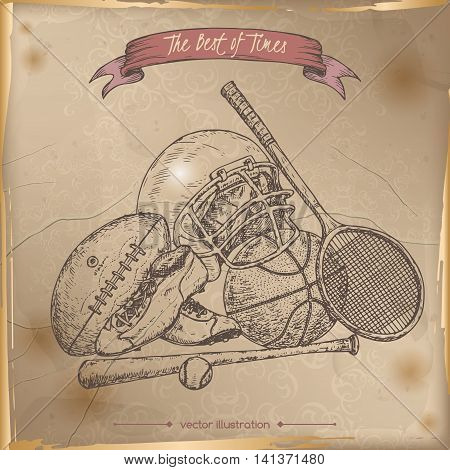 Antique sport gear hand drawn sketch placed on old paper background. Vintage collection. Great for school, education, sport, retro design.