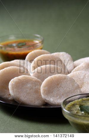 Idli With Sambar And Coconut Chutney, Indian Dish : South Indian Favourite Food Rava Idli Or Semolin
