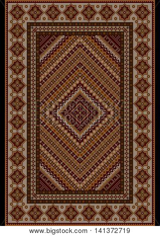 Luxurious vintage  rug in brown shades with original pattern in the middle