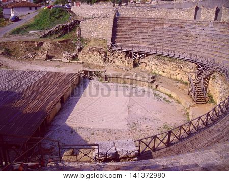 Ruins of Roman Amphitheatre in Ohrid Macedonia