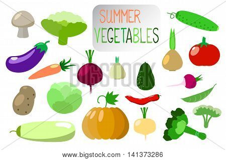 Vegetables clip art in flat style on white. Vegetables stickers design elements or icons. Set of summer vegetables