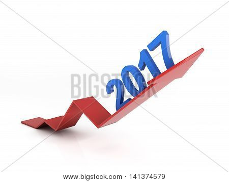 Graph with New year 2017 3D Rendering image