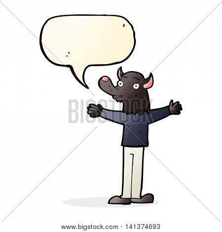 cartoon friendly werewolf with speech bubble