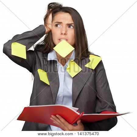 Portrait of a Worried Businesswoman Covered with Adhesive Notes