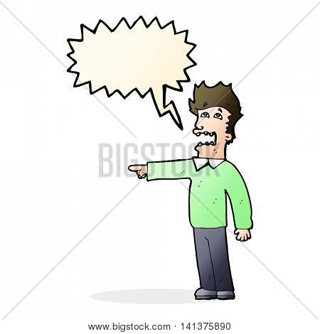 cartoon man accusing with speech bubble