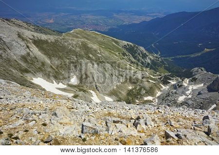 Panoramic view from Vihren peak to Kazanite and town of Bansko, Pirin Mountain, Bulgaria