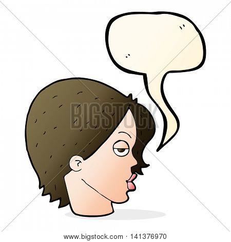 cartoon woman raising eyebrow with speech bubble