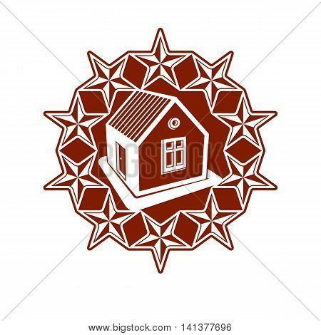 Solidarity idea vector icon simple house surrounded with festive stars.