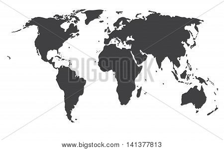Grey Political World Map vector and background