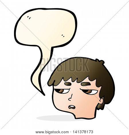 cartoon annoyed boy with speech bubble