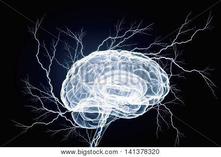 Human brain impulse . Mixed media