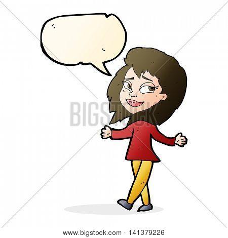 stress free woman cartoon with speech bubble