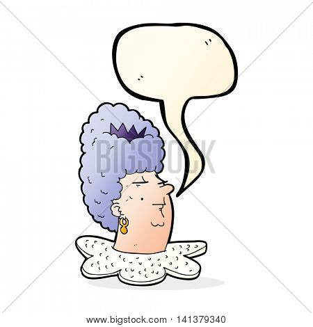 cartoon queen's head with speech bubble