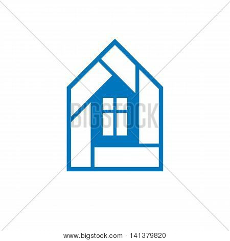 Vector blue house creative element for use in web and graphic design.