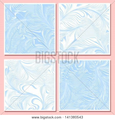 Set of card.Illusion wave, marble pattern.Abstract frozen vector background