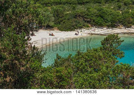 Seascape of Emblisi Fiskardo Beach, Kefalonia, Ionian islands, Greece