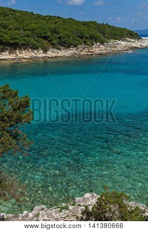 Panorama of Emblisi Fiskardo Beach, Kefalonia, Ionian islands, Greece