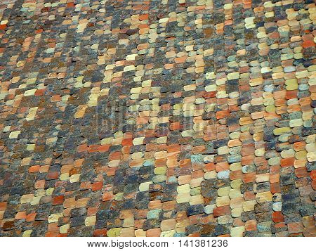 old tiled roof , colored old tiled roof