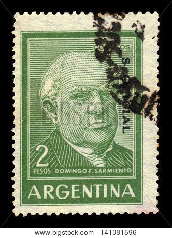 ARGENTINA - CIRCA 1962: a stamp printed in the Argentina shows Domingo F. Sarmiento, seventh President of Argentina, circa 1962