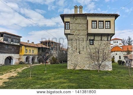 Panorama of Arapovo Monastery of Saint Nedelya and Tower of Angel Voivode, Plovdiv Region,  Bulgaria