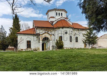 Church and green grass in Arapovo Monastery of Saint Nedelya, Plovdiv Region,  Bulgaria