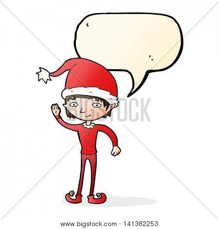 cartoon waving christmas elf with speech bubble