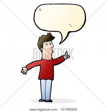 cartoon man advising caution with speech bubble