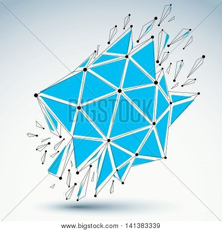 Abstract 3D Faceted Figure With Connected Black Lines And Dots. Vector Low Poly Blue Shattered Desig