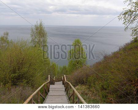 View of Lake Baikal from the high bank. Irkutsk region. Siberia. Russia