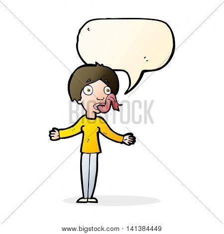 cartoon woman telling lies with speech bubble