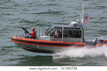 San Francisco, CA, USA - May 21, 2016: A US Coast Guard patrol boat cruising in the San Francisco Bay