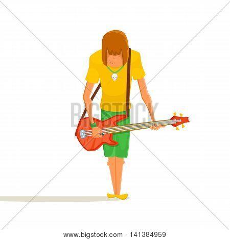Cartoon bass guitar player. Teenage guitaristplaying on bass. Vector illustration of young person holding bass guitar.