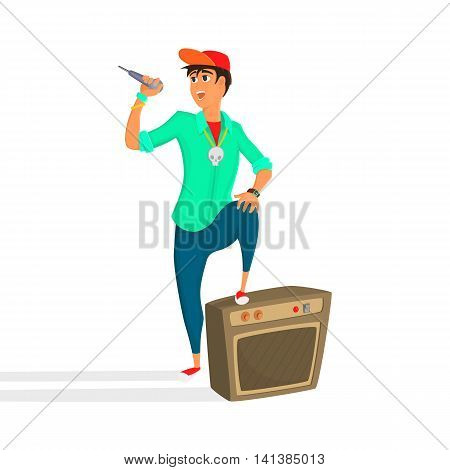 Cartoon young singer. Teenage vocalist sings. Vector illustration of young person giving a concert.