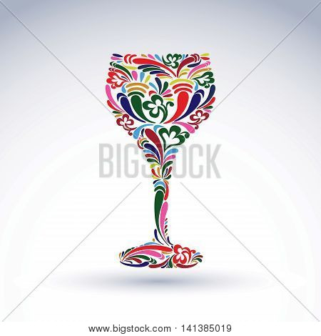 Fantasy decoration art design goblet with bright flower-patterned filling.