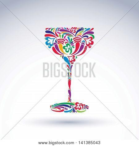 Fantasy decoration art design goblet with bright flower-patterned filling.