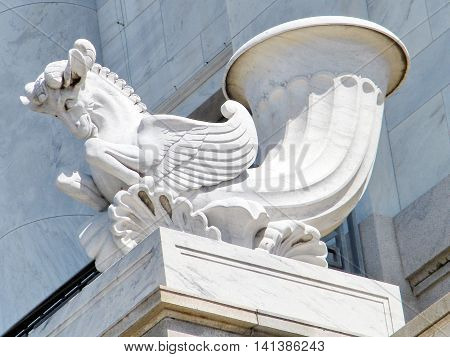 Statue of Pegasus in Building in Washington DC USA