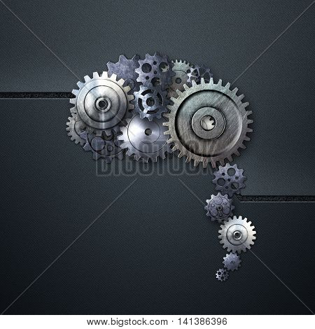 metal gear on blue carbon background look like a human brain. material design. 3d illustration.