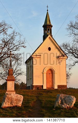 Beautiful Little Chapel. The Chapel Of Mary Help Of Christians. Central Europe Czech Republic. South