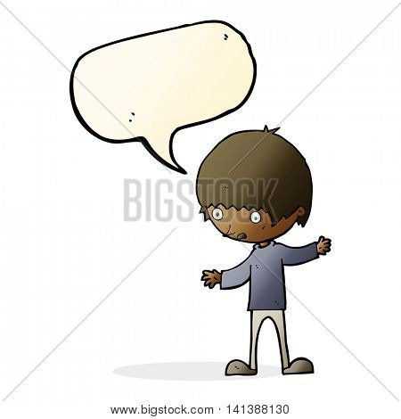 cartoon boy with outstretched arms with speech bubble
