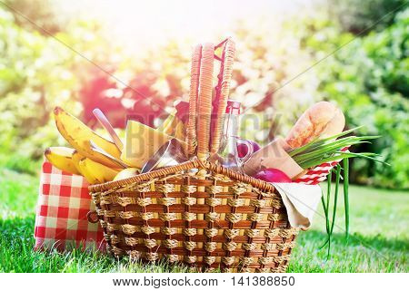 Picnic Wattled Basket Setting Bread Juice Cheese