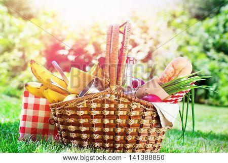 Picnic Wattled Basket Setting Bread Juice Cheese