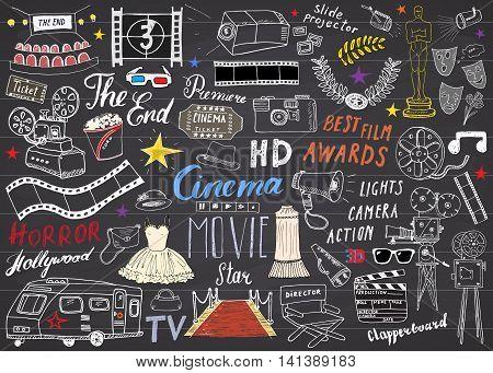 Cinema and Film Industry Set. Hand Drawn Sketch Vector Illustration on Chalkboard.