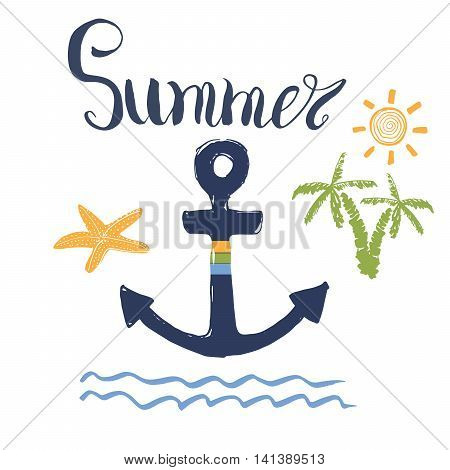 Summer Vector Illustration, Anchor, Palms And Lettering Isolated.