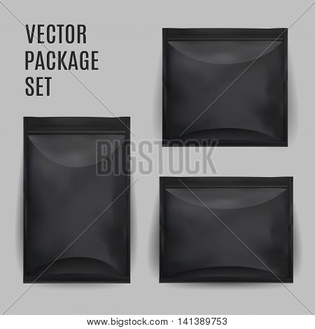 Black Blank Foil Food Snack Sachet Bag Packaging For Coffee Salt Sugar Pepper Spices Sachet Sweets Chips Cookies. Vector Mock Up Illustration Isolated.