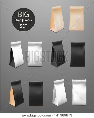 Paper Food Bag Package Big Set For Coffee Tea Snacks Chips Breakfast Meal. Isolated Mock Up Template Ready For Your Design. Product Packing Vector. Food to Go