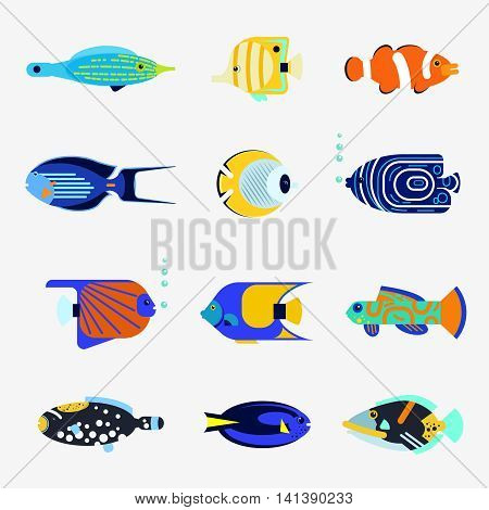 Tropical fish collection on white background. Vector flat illustration sea color fish icon. Design various aquarium fish isolated