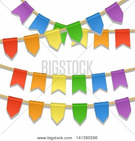 Colorful bunting decoration for party festival celebration special events. Vector illustration in LGBT flag colors. Garland pennants on a rope for Gay Pride Month. Symbol of peace gay culture.