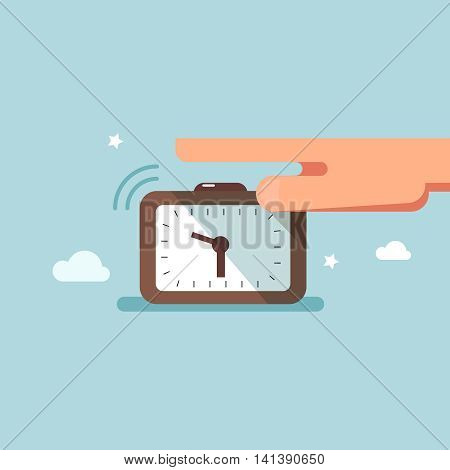 Vector illustration concept of awakening alarm clock. Hand off the button of the alarm clock in the morning flat design